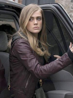 Michaela Stone Maroon Real Leather Jacket